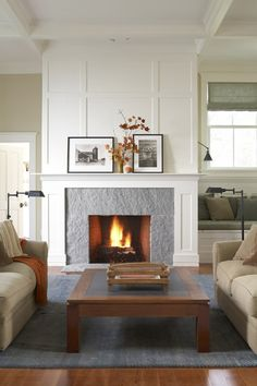Simple is sometimes best - orange leaves and a diminutive pumpkin is all this room needs to reflect the season. Fireplace Trim, White Fireplace, Fireplace Wall, Fireplace Surrounds, Fireplace Design, Fireplace Mantels, Fireplace Ideas, Mantel Ideas, Fireplace Makeovers