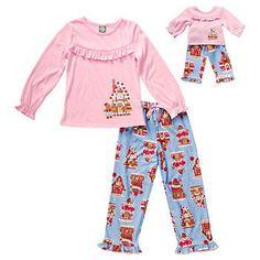 Dollie & Me Girls size 6 Gingerbread House Pajama Set