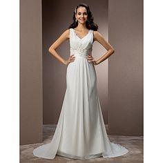 Lan+Ting+Sheath/Column+Plus+Sizes+Wedding+Dress+-+Ivory+Sweep/Brush+Train+V-neck+Chiffon+–+USD+$+179.99