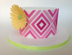 Gerbera Daisy and stripes via Craftsy