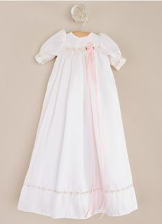 Little Candice Silk Preemie Blessing Gown, Slip and Bonnet. Sweet pink details for your sweet little girl.