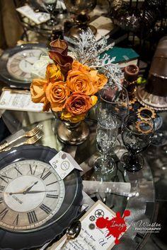 Steampunk wedding tablescape - flatware, gears, flowers (diff colors)