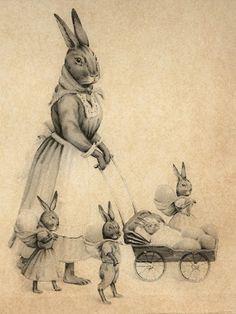 Bunny mum and the bunny kids go for a walk. Easter Art, Easter Crafts, Easter Bunny, Baby Bunnies, Vintage Easter, Vintage Holiday, Vintage Postcards, Vintage Images, Vintage Cards