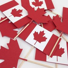 Canada Day Cupcake Toppers Canadian Flag July by Bcbabycreations Dominion Day, Mission Farewell, Canada Day Fireworks, Canada Day Party, New Brunswick Canada, Canada Holiday, Farewell Parties, 60th Birthday Party, Party Themes