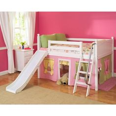 Maxtrix Full Size Low Loft Bed With Angle Ladder