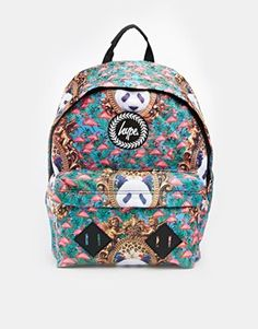 Hype Backpack with Panda and Flamingo Print
