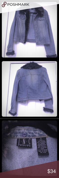 Comfortable Inc Denim blue jacket removable fur Sexy denim INC jacket, the fur detail has its own set of buttons to remove it, super cute with dresses and jeans! Excellent condition, pet free, smoke free home. INC International Concepts Jackets & Coats Jean Jackets