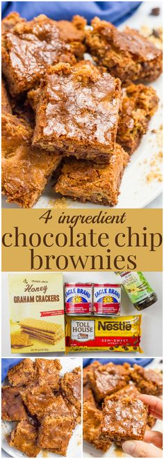 Chocolate chip brownies have just 4 ingredients (no box mixes) and come out chewy and perfectly sweet - a great, easy dessert! | www.familyfoodonthetable.com