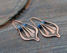 Lotus petal and fringe swing hoop earrings in copper or sterling silver, gem stone, rustic, boho, threader, hammered, red, blue, green, pink