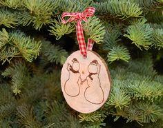 Snow Couple Wood Slice Christmas Ornament