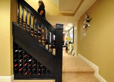 Wine storage idea for basement stairs