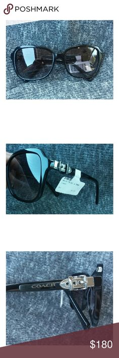 ♡ NWT Coach silver buckle sunglasses! Coach black rim square sunglasses. HC8179. Silver buckle detail. Brand new with tags. Retail for $180. Coach Accessories Sunglasses