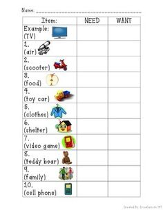 Wants Vs Needs | Anchor Charts, Homework and Printables