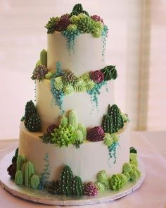 Cactus Cake - how to make a cactus themed cake with ombrè buttercream, edible. Pretty Cakes, Cute Cakes, Beautiful Cakes, Amazing Cakes, Cactus Cake, Cactus Cactus, Cactus Flower, Cactus Wedding, Fall Wedding Cakes