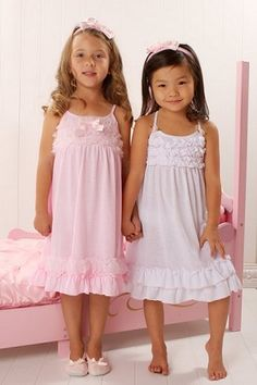 Laura Dare Sweet Innocence White With Pink Strappy Nighgown Cute Little Girls Outfits, Cute Girl Dresses, Girl Outfits, Flower Girl Dresses, Kids Nightwear, Girls Sleepwear, Baby Girl Fashion, Fashion Kids, Pink Nightgown