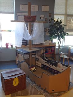 Thinking and Learning in Room 122 Dramatic Play Themes, Dramatic Play Area, Dramatic Play Centers, Preschool Pirate Theme, Pirate Activities, Preschool Activities, Indoor Playhouse, Build A Playhouse, Kindergarten Inquiry