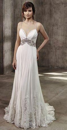 Spaghetti Strap Beaded Waist Pleated Chiffon Skirt Wedding Dress via Badgley Mischkahttp://www.himisspuff.com/top-100-wedding-dresses-2017-from-top-designers/5/