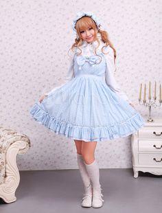 Süßes Lolita Kleid aus Baumwolle mit Trägern und Schleife in Blau - Milanoo.com