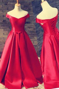 Off Shoulder Floor Length Satin Red Prom/Evening Dress With Belt PG300