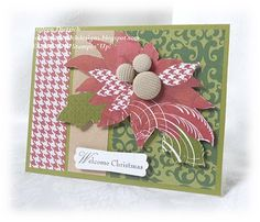 Modern poinsettia Christmas card. Sentiment and corduroy buttons by Stampin Up.