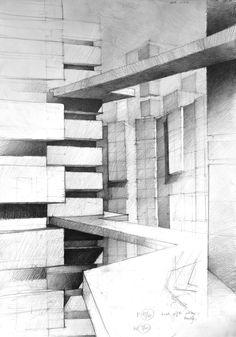 Maria Giemza - ze Szkoły Rysunku i Malarstwa - Koletek 3d Pencil Drawings, Doodle Drawings, Drawing Sketches, Architecture Drawings, Amazing Architecture, Perspective Drawing, Point Perspective, Architect Drawing, Drawing Studies