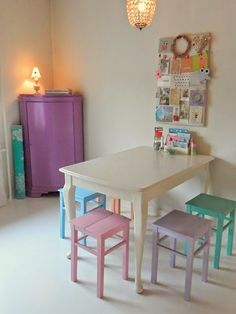 Childrens table with pastel painted chairs.