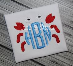 The Monogram Crab mini is perfect for pocket tees, polos, hats and more. Ready for you to add your monogram to create something adorable! Embroidery Monogram, Embroidery Fonts, Custom Embroidery, Embroidery Applique, Embroidery Ideas, Monogram Frame, Monogram Design, Applique Designs, Machine Embroidery Designs