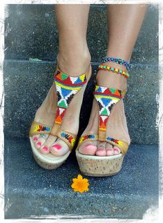 Tribal WEDGE SANDALS Native American BEADED sandals by GPyoga, $45.00