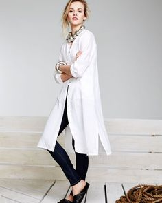 Eileen Fisher Long Organic Linen Jacket