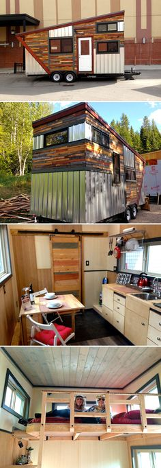 From Hummingbird Micro Homes is this colorful tiny house with a recycled wood and metal exterior. Named the Cowboy, the 20' house totals 208 sq.ft.
