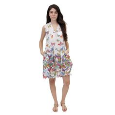 La Cera Women's Sleeveless White Printed Dress White-Medium