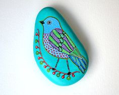 Hand Painted Stone Bird Beach Stone with hand-painted designs in acrylics  © Sehnaz Bac 2014    I paint and draw all of my original designs
