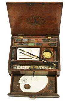 Reeves and sons watercolor box | Reeves & Sons Mahogany Watercolour Box c1860-1870