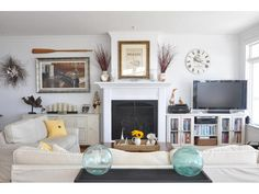 Seaside Neutral Living Room Tv FireplaceFireplace IdeasFireplacesTv PlacementFurniture LayoutFurniture