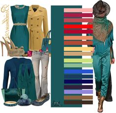 turquoise Color Wheel Fashion, Colour Combinations Fashion, Color Combinations For Clothes, Fashion Colours, Colorful Fashion, Color Combos, Fashion Capsule, Fashion Outfits, Color Balance