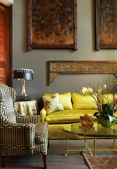 The sofa, chair and lamp look rich. I don't know how everything else matches.