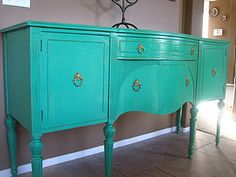 Paint traditional style furniture a funky color for a fresh look :)