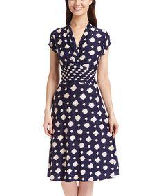 Another great find on #zulily! Navy & Beige Artistic Dot Surplice Dress #zulilyfinds