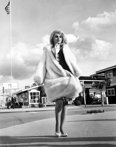 the60sbazaar:  Ann Margret in white fur on the set of Kitten With A Whip
