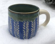 Handmade Wheel Thrown Ceramic Mug - Hawaii Blue - Pottery Mug