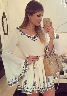 538eced5f2 White Flowers Embroidery V-neck Bell Sleeve Chiffon Mini Dress