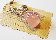 Wire Wrapped Pink ROSE QUARTZ Key Chain Purse Charm Backpack Positive Healing Reiki Energy Stone Crystal Boho Chic Wicca Magic Gypsy 112616 by TheStoneFairyShop on Etsy