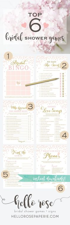 Top 6 Bridal Shower games you NEED at your bridal shower! They are printable, INSTANT downloads. Just print, cut and play... Easy peasy! Hello Rose Paperie