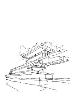 my fav of all of his houses! Conceptual Sketches, Conceptual Design, Drawing Sketches, House Sketch, House Drawing, Art Assignments, Model Sketch, Simple Line Drawings, Architecture Drawings