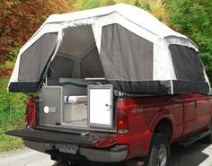 Maybe I'd go camping this way - Canvas Pick Up Tent Truck Bed Camping, Camping Glamping, Camping And Hiking, Camping Gear, Camping Hacks, Tent Camping Beds, Truck Bed Tent Camper, Backpacking, Truck Canopy