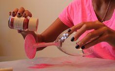 DIY Pink Glitter Wine Glasses