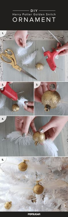 True fans who want to re-create the Harry Potter holidays of their dreams can start with an easy DIY that seriously takes minutes to make. These Golden Snitch ornaments can be an addition to your tree or just an awesome decoration for your home all year long.