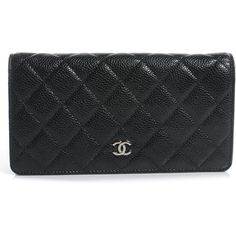 c49735876137 CHANEL Caviar Quilted Yen Wallet Black ❤ liked on Polyvore featuring bags,  wallets, black