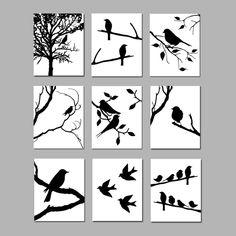 Bird Bedroom, Bedroom Art, Bird Wall Art, Wall Art Sets, White Art, Black And White, Fantasy Castle, Bird Silhouette, Art Programs