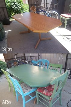 I purchased this table at an auction for 15 bucks for outdoor dining. I spray painted to match my mis-matched chairs for a fun dining area.